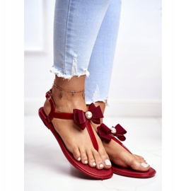 LU BOO Red Women's Rubber Sandals Japanese Etta Bow 1