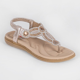 Gold flat sandals decorated with CT-29 golden 5