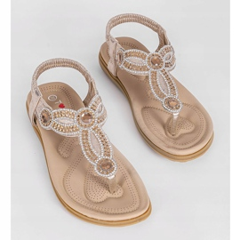 Gold flat sandals decorated with CT-29 golden 6