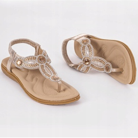 Gold flat sandals decorated with CT-29 golden 10