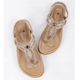 Gold flat sandals decorated with CT-29 golden 1