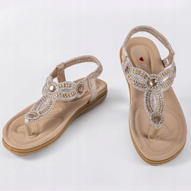 Gold flat sandals decorated with CT-29 golden 2