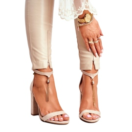 ADY Beige Suede Sandals on a Pole with Tassel Annick 1