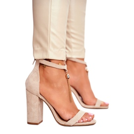 ADY Beige Suede Sandals on a Pole with Tassel Annick 2