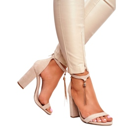 ADY Beige Suede Sandals on a Pole with Tassel Annick 3