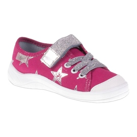 Slippers girls' sneakers with stars Befado 251X096 pink grey 1