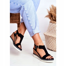 BUGO Women's Black Wedge Sandals Rosa 1