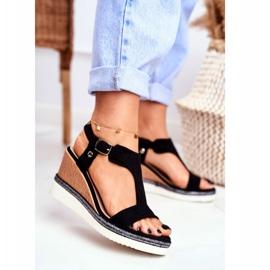 BUGO Women's Black Wedge Sandals Rosa 2