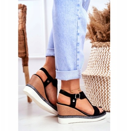 BUGO Women's Black Wedge Sandals Rosa 4