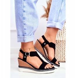 BUGO Women's Black Wedge Sandals Rosa 3