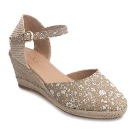 Wedge Sandals 50427 Beige 1