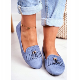 BUGO Women's Loafers Blue Lords Fringes Therese 4