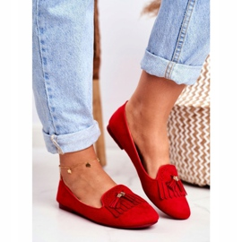 BUGO Women's Loafers Red Lords Fringes Therese 1