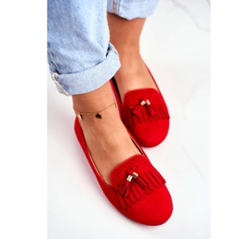 BUGO Women's Loafers Red Lords Fringes Therese 5