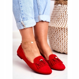 BUGO Women's Loafers Red Lords Fringes Therese 4