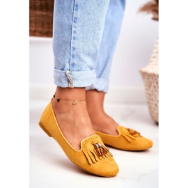 BUGO Women's Loafers Yellow Lords Fringes Therese 1