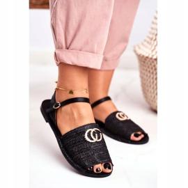 Black Women's Flat Sandals Lu Boo Braided Felicia 1