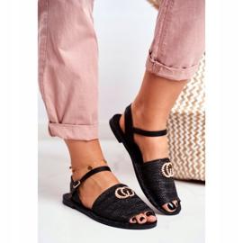 Black Women's Flat Sandals Lu Boo Braided Felicia 2