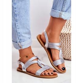 BUGO Women's Flat Silver Sandals Rachel grey 1