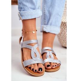 BUGO Women's Flat Silver Sandals Rachel grey 2