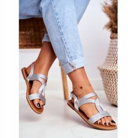 BUGO Women's Flat Silver Sandals Rachel grey 3