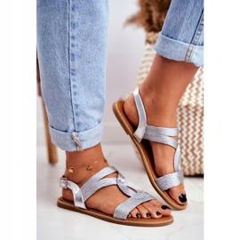 BUGO Women's Flat Silver Sandals Rachel grey 4