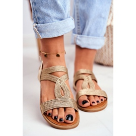 BUGO Women's Flat Sandals Gold Rachel golden 3