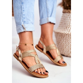 BUGO Women's Flat Sandals Gold Rachel golden 4