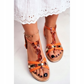 SEA Women's Sandals Elegant Orange Snakeskin Brooke 4