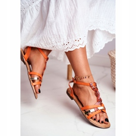 SEA Women's Sandals Elegant Orange Snakeskin Brooke 1