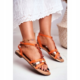 SEA Women's Sandals Elegant Orange Snakeskin Brooke 2