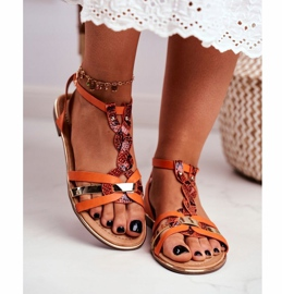 SEA Women's Sandals Elegant Orange Snakeskin Brooke 3