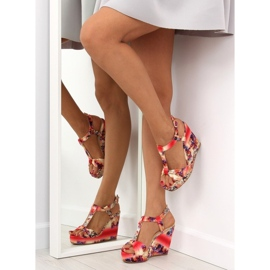 Satin sandals on a wedge heel 903 Red II Quality 5