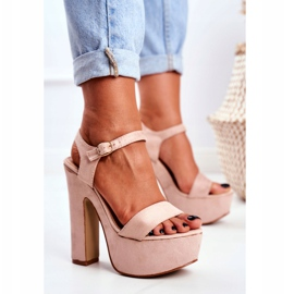 LU BOO High Pink Sandals on a Bar HighShoes Platform 2