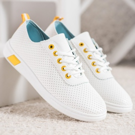 SHELOVET Openwork Sneakers With Eco Leather white 5