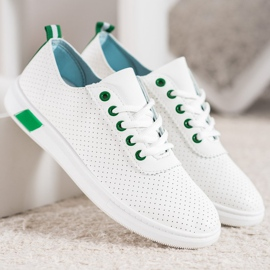 SHELOVET Openwork Sneakers With Eco Leather white 4