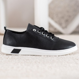SHELOVET Openwork Sneakers With Eco Leather black 2