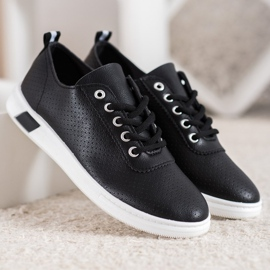 SHELOVET Openwork Sneakers With Eco Leather black 4