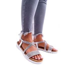 Women's Lu Boo Sandals With Cubic Zirconia 406-5 Silver Stella grey 1