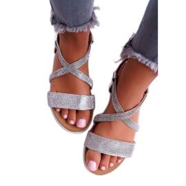 Women's Lu Boo Sandals With Cubic Zirconia 406-5 Silver Stella grey 2