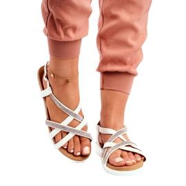 Women's Lu Boo Sandals With Cubic Zirconia 406-6 White Feen grey 3