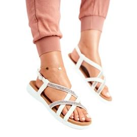 Women's Lu Boo Sandals With Cubic Zirconia 406-6 White Feen grey 2