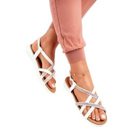 Women's Lu Boo Sandals With Cubic Zirconia 406-6 White Feen grey 1
