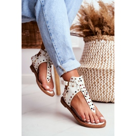 Lu Boo Sandals Flip-flops With Jets Gladiator Ashley White 2
