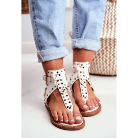 Lu Boo Sandals Flip-flops With Jets Gladiator Ashley White 3
