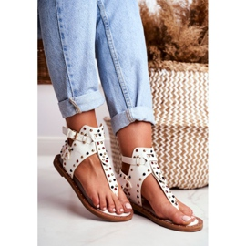 Lu Boo Sandals Flip-flops With Jets Gladiator Ashley White 1