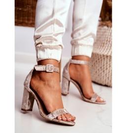Lu Boo Beige Velor Sandals On A Bar Catherine 2