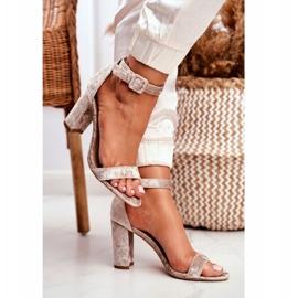 Lu Boo Beige Velor Sandals On A Bar Catherine 4