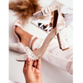 Lu Boo Beige Velor Sandals On A Bar Catherine 1