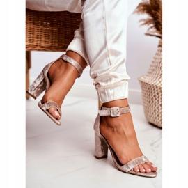 Lu Boo Beige Velor Sandals On A Bar Catherine 3